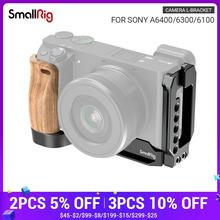 SmallRig L Bracket Plate With Wooden Handle for Sony A6400/A6300/A6100 Arca Swiss Standard L Plate Mounting Plate   2331