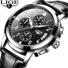 LIGE Men Casual Leather Business Clock Mens Watches Top Luxury Quartz Wrist Watch Men Sport Waterproof Chronograph Montre Homme цены