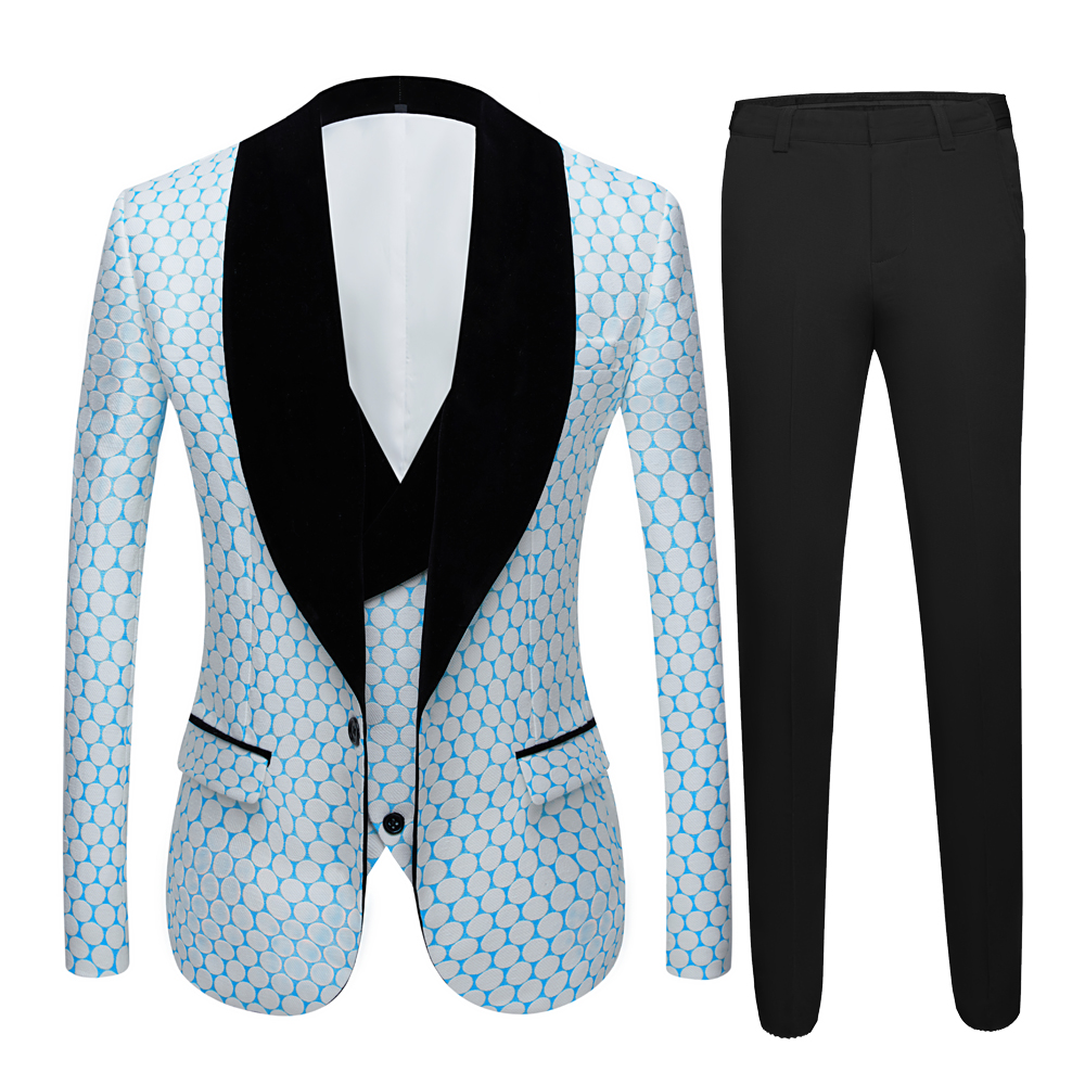 New 3 Pieces Men's Wedding Suit Three Pieces Dots Printed Slim Fit Notch Lapel Tuxedos Tailcoat Best Men Double Breasted Vest 1