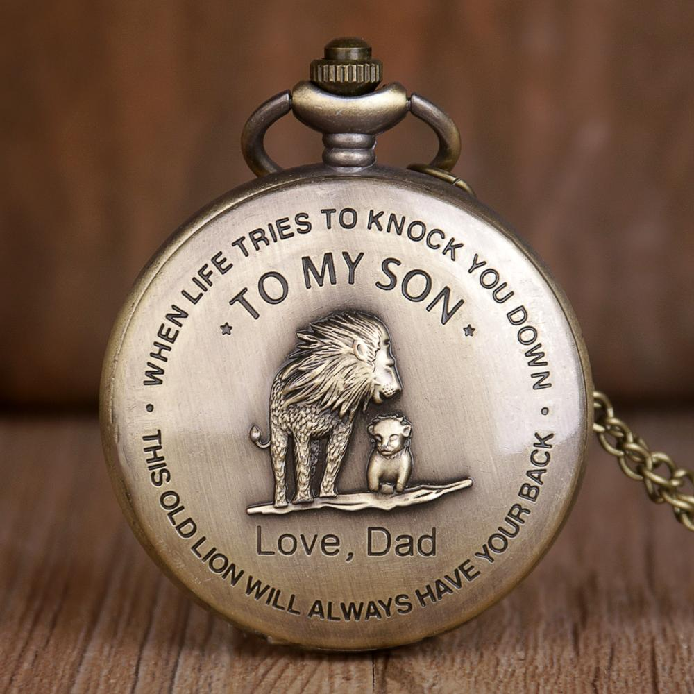 Bronze TO MY SON Design Pocket Watch The Lion King Cover Pendant Quartz Pocket Watch Men Retro Necklace Chain Gifts For Boys Son