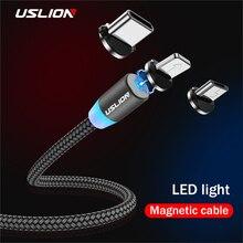 USLION Магнитный USB кабель Micro usb type C кабель для samsung Galaxy S10 S10e для iPhone XR Xs Max 8 7 6 1M 2M 2A магнитное зарядное устройство
