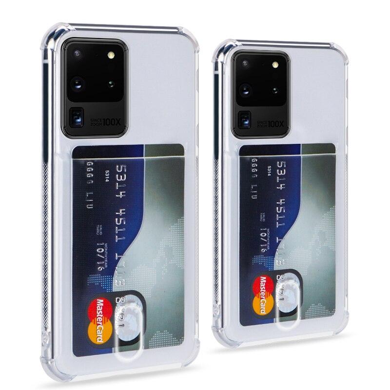 Fashion Credit Card Holder Transparent Case For Samsung Galaxy S20 Ultra Note 10 9 S10 S9 Plus A51 A71 A50 A70 A40 A30 TPU Cover