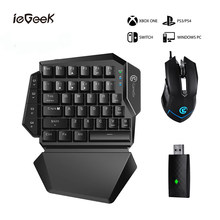 PS4 Permainan Mouse dan Keyboard Kit untuk Xbox/PS3/PS4/Switch/PC Mekanik Satu Tangan 2.4G Nirkabel Bluetooth Permainan Keyboard Mouse(China)