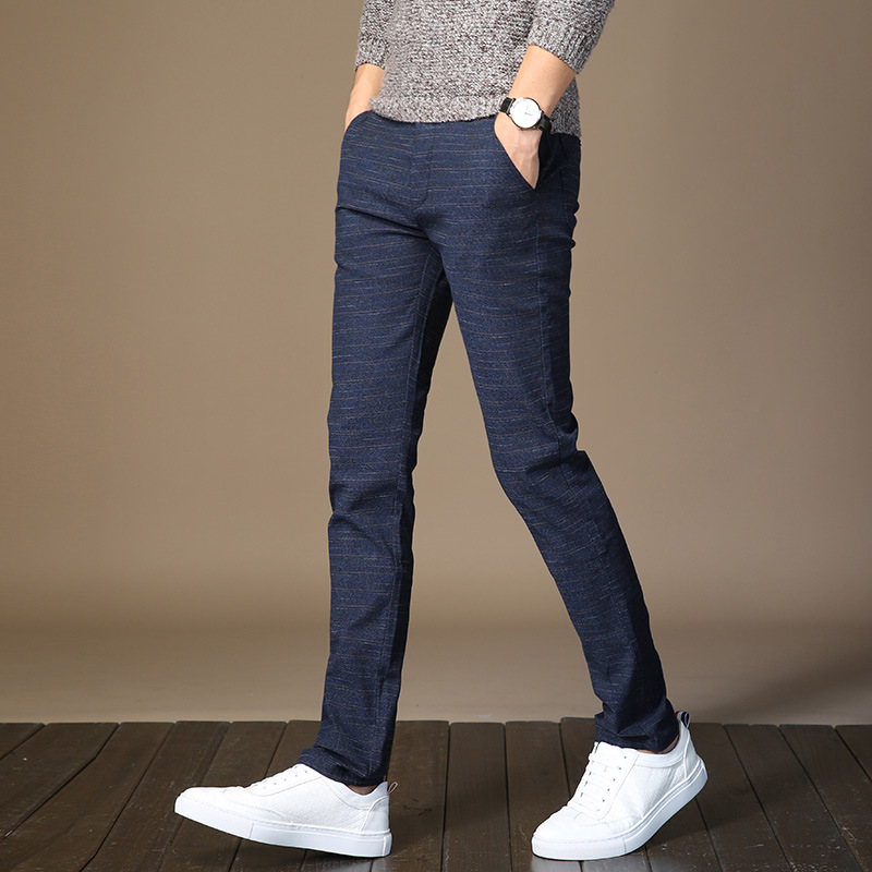 688 # Autumn & Winter Korean-style Youth BOY'S Pants Men Elasticity Casual Pants Slim Fit Straight-Cut New Style Students Trouse