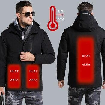 Men Women's Winter USB Heating Thick Jackets Hiking Outdoor Sport Thermal Windbreaker Camping Trekking Climbing Male Coats VA682