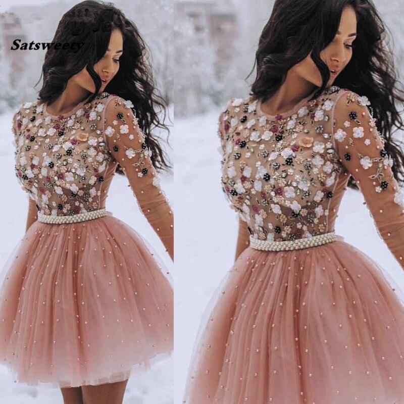 Короткие платья для выпускного вечера с жемчужинами и бусинами ручной работы с цветами и длинными рукавами, коктейльное платье 2020