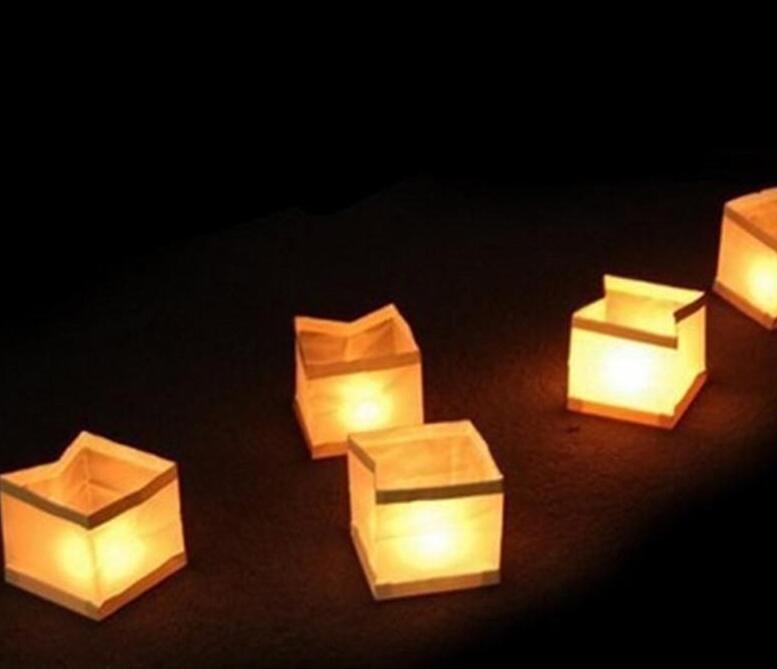 15cm Square Water Lamp Lanterns Chinese Square Wishing Lantern Waterproof Floating Water Lanterns Lamp No With Candle