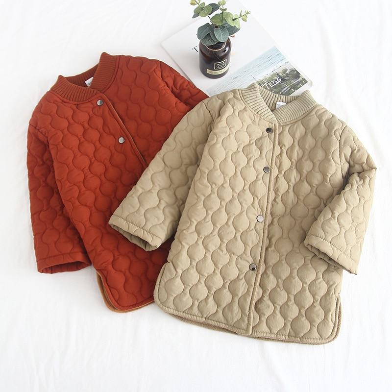 Childrenswear Korean-style Girls Quilted Padded Plus Velvet Mid-length Slit Hemline At Hem Cotton Overcoat