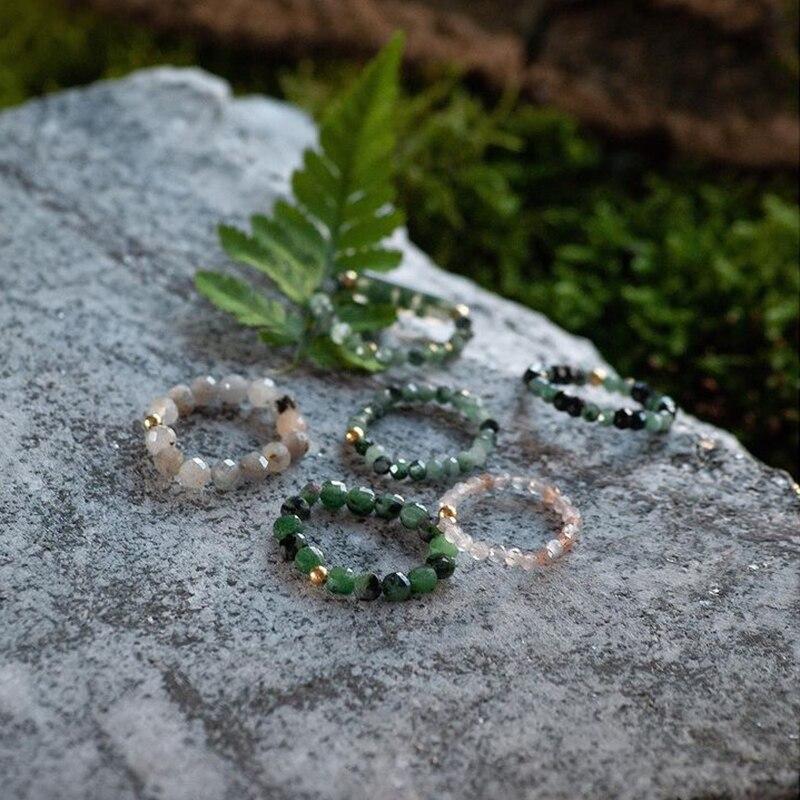 Momiji богемные кольца из натурального камня кольца из бисера для женщин и девушек разноцветные модные ювелирные изделия ручной работы подарк...