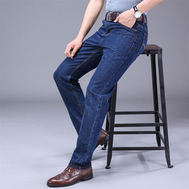 2019 Autumn Jeans Men Casual Business Cotton Force Denim Trousers Slim Fit Jeans Spring Straight Denim Pants Male Thin Men Jeans 4