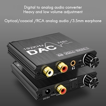 Digital to Analog Audio Converter 192KHz with Bass and Volume Adjustment for PS3 PS4 DVD Apple TV Home Cinema