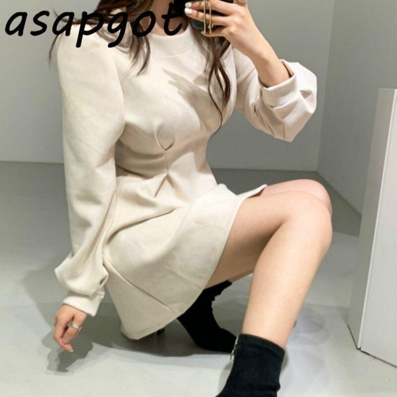 Asapgot корейское шикарное осенне зимнее винтажное облегающее ТРАПЕЦИЕВИДНОЕ ПЛАТЬЕ с высокой талией и длинными пышными рукавами мини свободное Повседневное платье Vestido De Mulher|Платья| | АлиЭкспресс