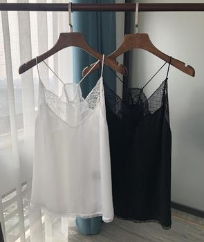 Women Sexy Black Vest Sling Tank Tops Lace Stitching Backless Bottoming Female Summer Camis