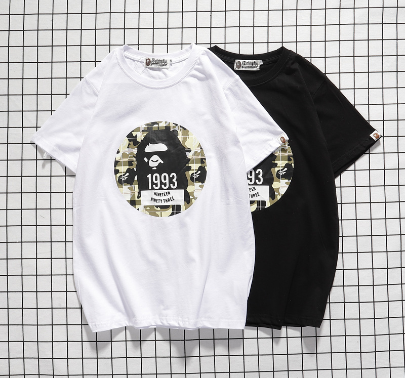2020 Spring Summer BAPE Lettered 1993 Large Ape Head Printed Casual Short Sleeve College Student Trend Youth Pure Cotton