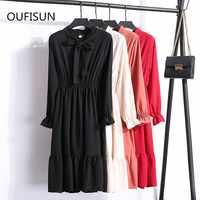 Fashion Autumn Shirt Chiffon Midi Dress Long Sleeve Office Polka Dot Vintage Dress Spring Women Casual Red Floral For Ladies