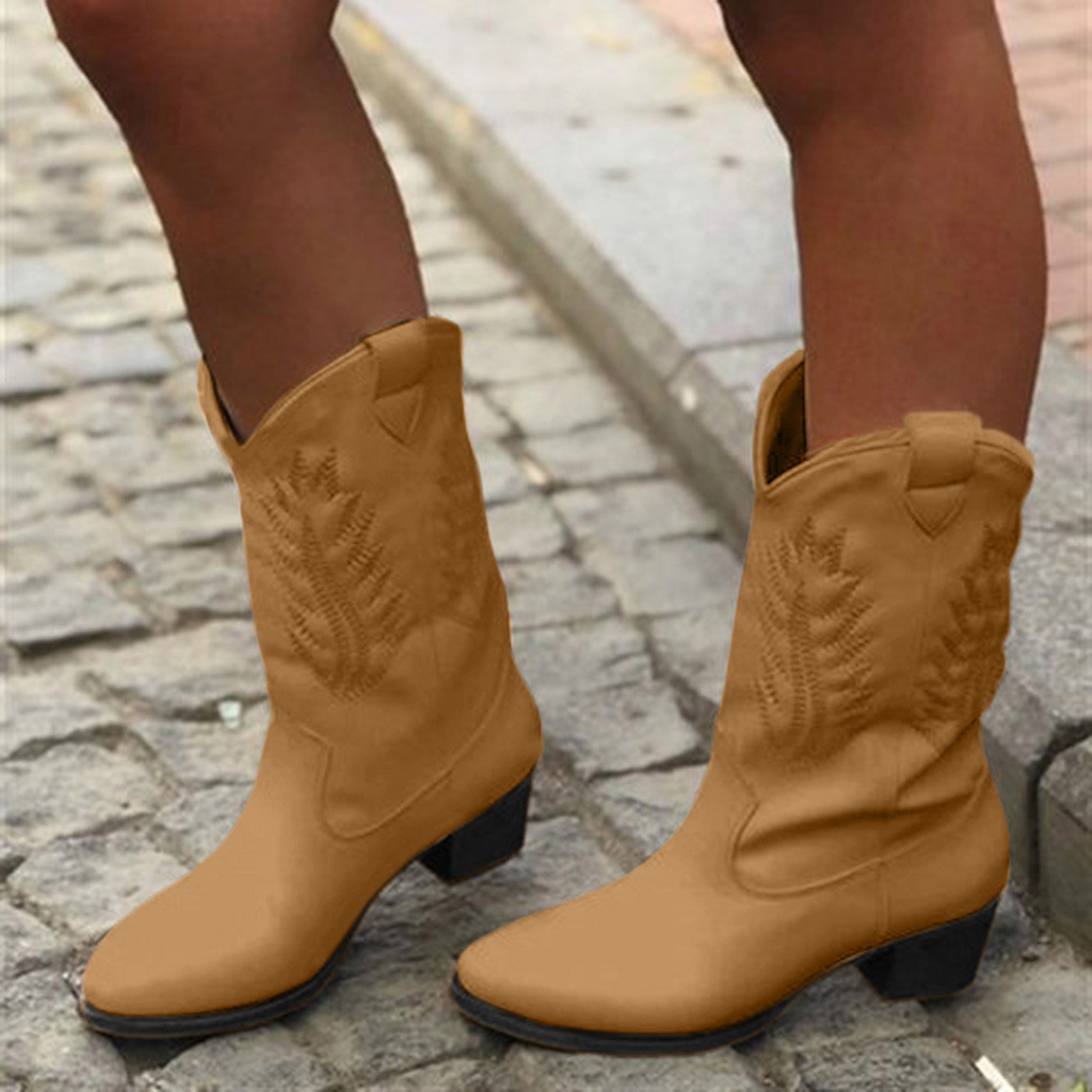 Boots Cowboy for Womens Slip-On Leather Round Toe Low-Heeled Shoes Knight Fashion Boots
