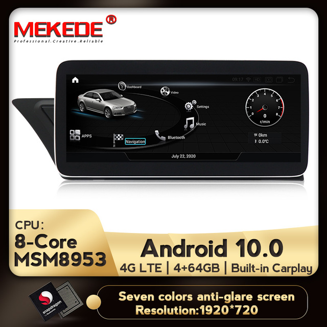 MEKEDE Radio con GPS para coche, Radio con sistema Android 10, DVD, navegador Navi, Carplay, WIFI, Google BT, música, SWC, para Audi A4 2004 2016