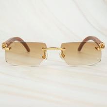 Holz Retro Randlose Sonnenbrille Männer Frauen Sonne Gläser für Fahren Angeln Luxus Carter Gläser Rahmen Holz Sonnenbrille für Männliche