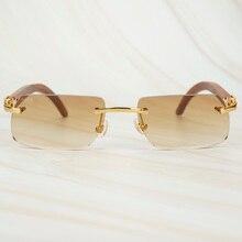 ไม้ Retro Rimless แว่นตากันแดดผู้ชายผู้หญิงแว่นตาสำหรับขับรถตกปลา Luxury Carter กรอบแว่นตาแว่นตากันแดดสำหรับชาย