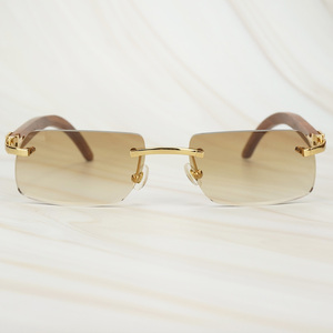 Image 1 - Wooden Retro Rimless Sunglasses Men Women Sun Glasses for Driving Fishing Luxury Carter Glasses Frame Wood Sunglasses for Male
