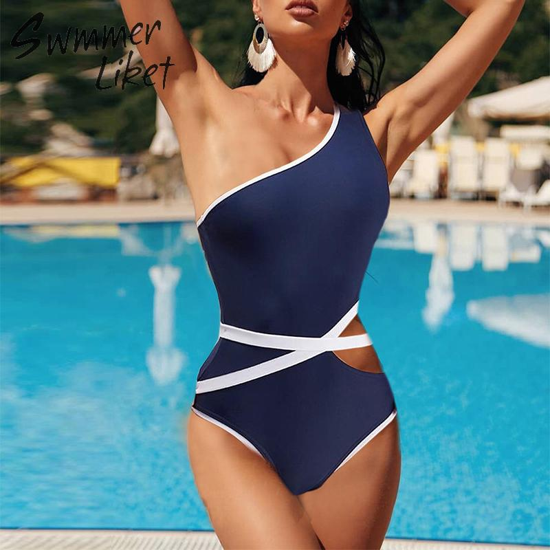One shoulder swimwear women Hollow out bodysuits one-piece swimsuit female Patchwork bikini 2019 Mujer monokini Summer bathers