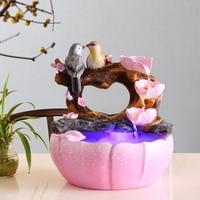 110V / 220V Modern Marry Gift Resin Flower Bird Water Fountain Humidifier Home Decoration Crafts Lover Souvenir Fountain Artwork