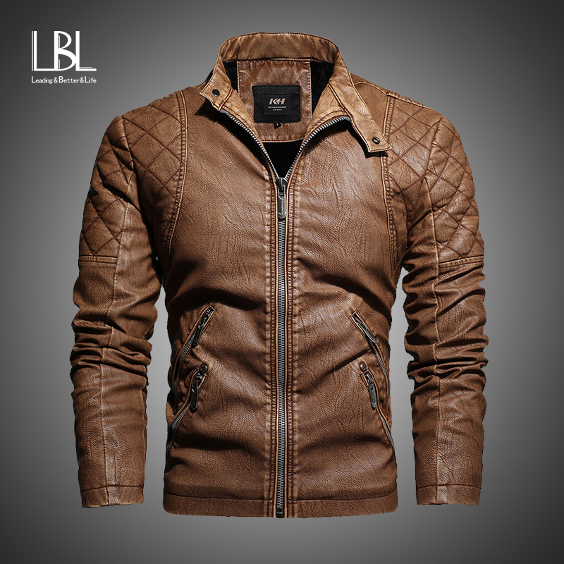 New Arrival Spring Mens Leather Jacket Fashion Vintage Leather Coat Men Plus Size M-4XL Stand Collar Coat Male Chaqueta Hombre