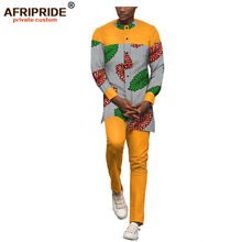 2019 african spring casual cotton set for men AFRIPRIDE full sleeve dashiki top+long pants 2 piece set print plus size A1816005