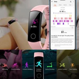 Image 3 - כבוד להקת 5 NFC צמיד חכם דם חמצן מרובה חוגות פעילות קצב לב כושר שינה Tracker Passometer גלובלי גרסה