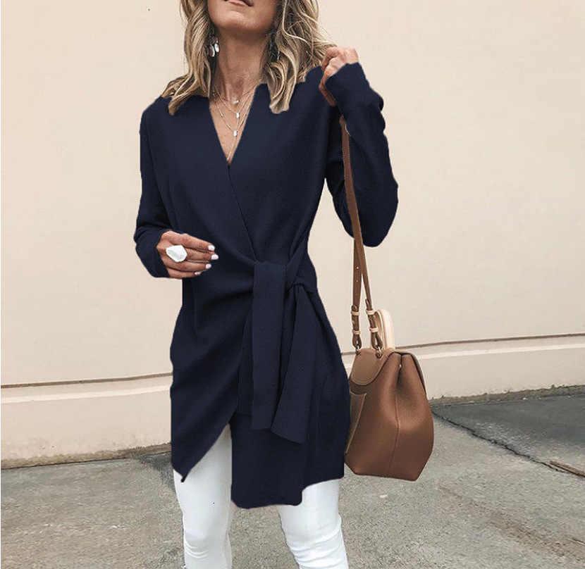 Doux noeud pansement femmes Cardigan 2019 nouveau Design à volants Cardigan chandail élégant col en V pull haut kardigan longue trench manteau