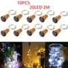 Guirlande solaire à 20 LED en liège, fil de cuivre, lumière féerique pour bouteille de vin, pour vacances, fête de noël, mariage, décor, 10 paquets