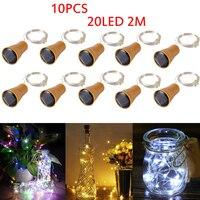 Paquete de luces de Botella de vino Solar 20 LED, cadena de corcho Solar, alambre de cobre ligero, luz de hadas para vacaciones, fiesta de Navidad, decoración de boda, 10 unidades