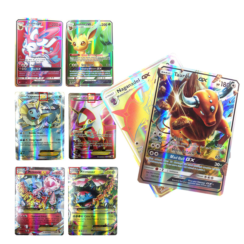 100 200Pcs English  GX   Pokemones  Cards Toys Card Game Battle Carte Trading Energy Charizard Collection Card Toy