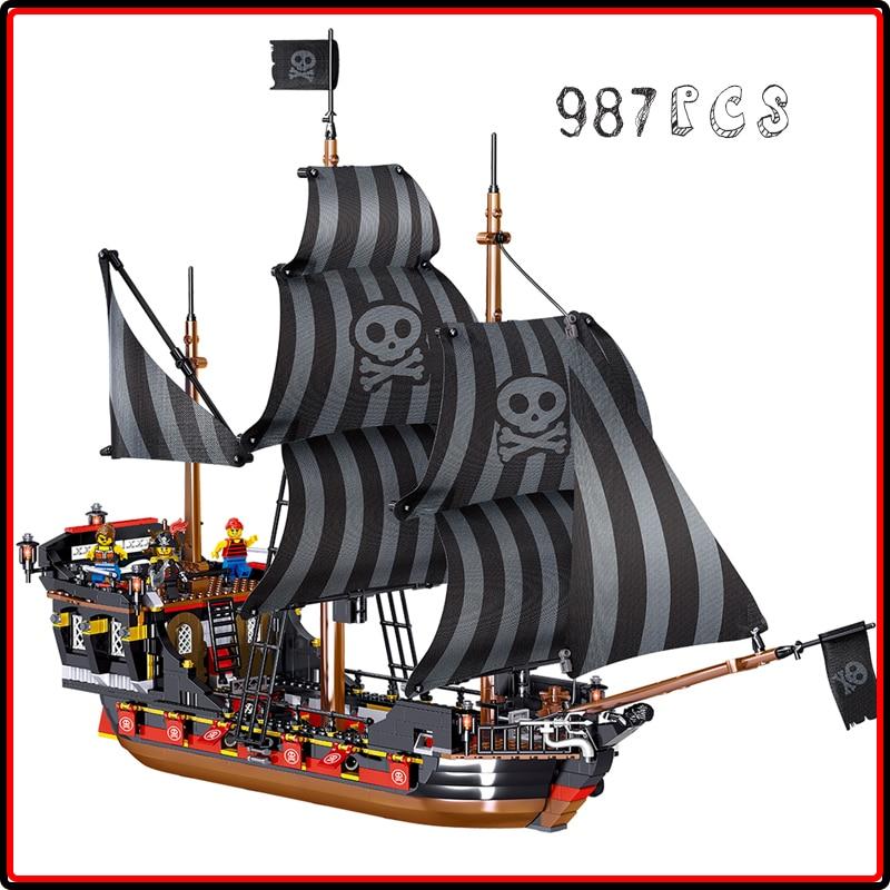 Pirates of Caribbean Bounty Pirate The Black Pearl Ship bluilding blocks bricks ship DiY sets toy for children