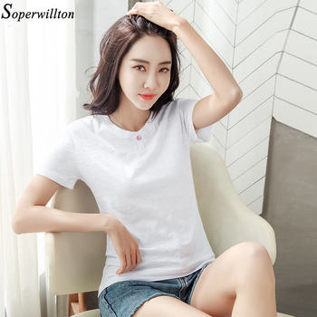 100% Cotton T Shirt Women Long Sleeve Tshirt Female 2020 Spring Autumn Ladies Tops Tee Shirt Femme Plus Size 3XL White Black G79 - short sleeve white, XXXL