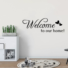 цена на Welcome To Our Home Quote Wall Stiker Home Decorative Removable Vinyl Wall Stickers For Living Room Hotel Bedroom Decor CL02