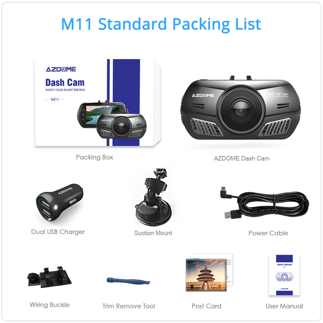 AZDOME M11 3 inch 2.5D IPS Screen Mini  Dash Cam  Full HD1080P Car DVR Car Video Recorder Night Vision car camera dashcam 5
