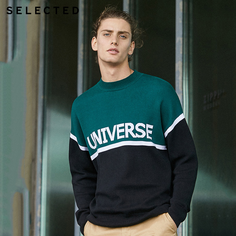 SELECTED Stitching Color  Letter Printed Mens Winter Sweater| 419424516