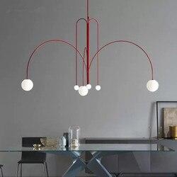 Art szkło dekoracyjne Ball żyrandol nowoczesny żyrandol do salonu/wisząca lampa Nordic modne oświetlenie oprawa domu kryty w Wiszące lampki od Lampy i oświetlenie na