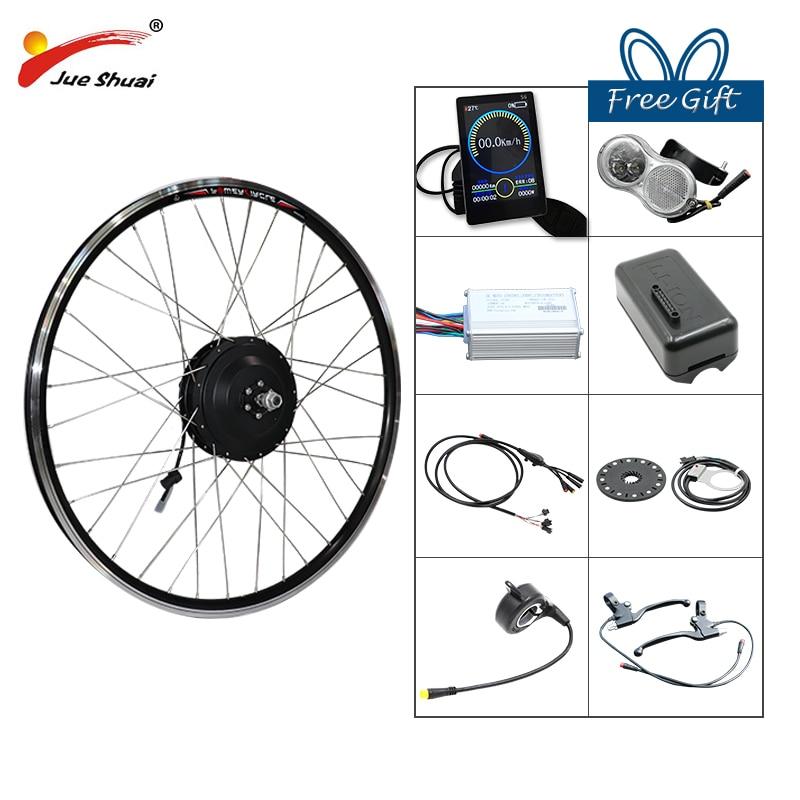 JS 48V 500W Electric Bicycle Gear Hub Motor Front Wheel Drive eBike Conversion Kit for DC Engine e Bike Kit bicicleta eletrica