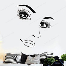 Hairdressing Beauty Girl wall Sticker Make up art mural Woman Long Lashes wall Decal Beauty Salon wall decor JH50 art wall sticker lashes salon eyelashes decor vinyl removeable beauty salon decoration make up extensions eyebrows decal ly265