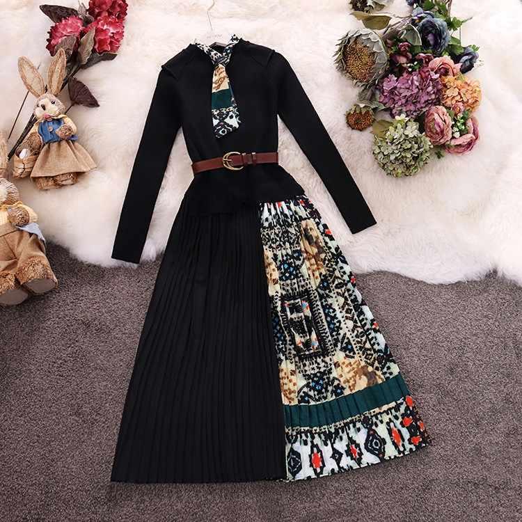 Amolapha 여성 빈티지 인쇄 Draped 니트 패치 워크 드레스 니트 긴 소매 벨트 드레스 Vestidos