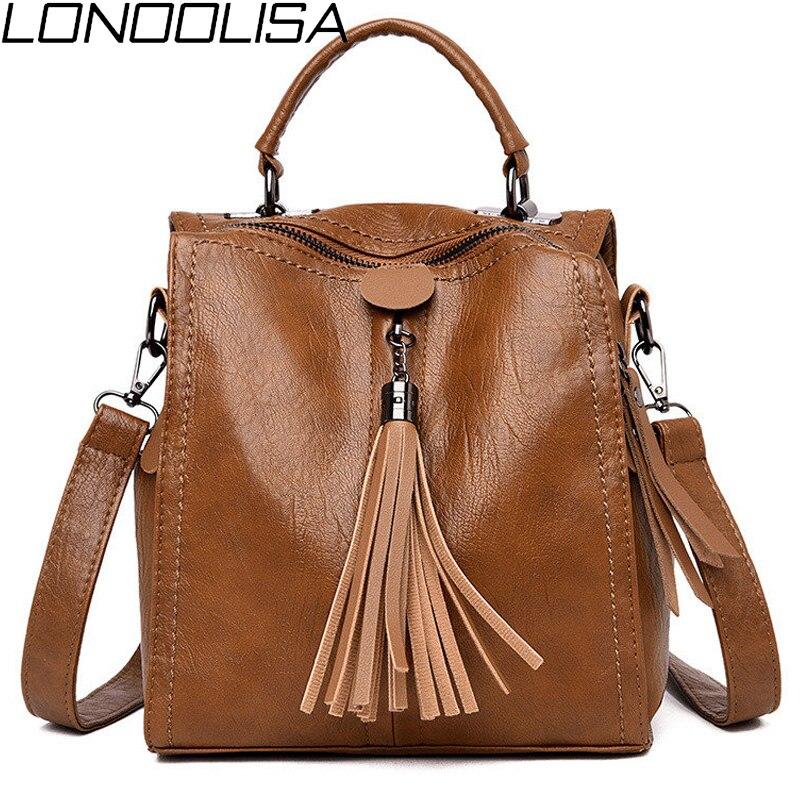LONOOLISA 2019 New Leather Female Backpacks High Quality Sac A Dos Ladies Bagpack Luxury Designer Casual Daypack Girl Mochilas