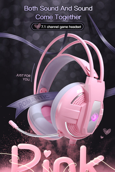 Newest Wired Headset Gamer Pink Cat Ear Headset Cute PS4 Phone PC With Microphone 3.5mm USB Gaming Phone PS4 Overear Gamer Pink 5