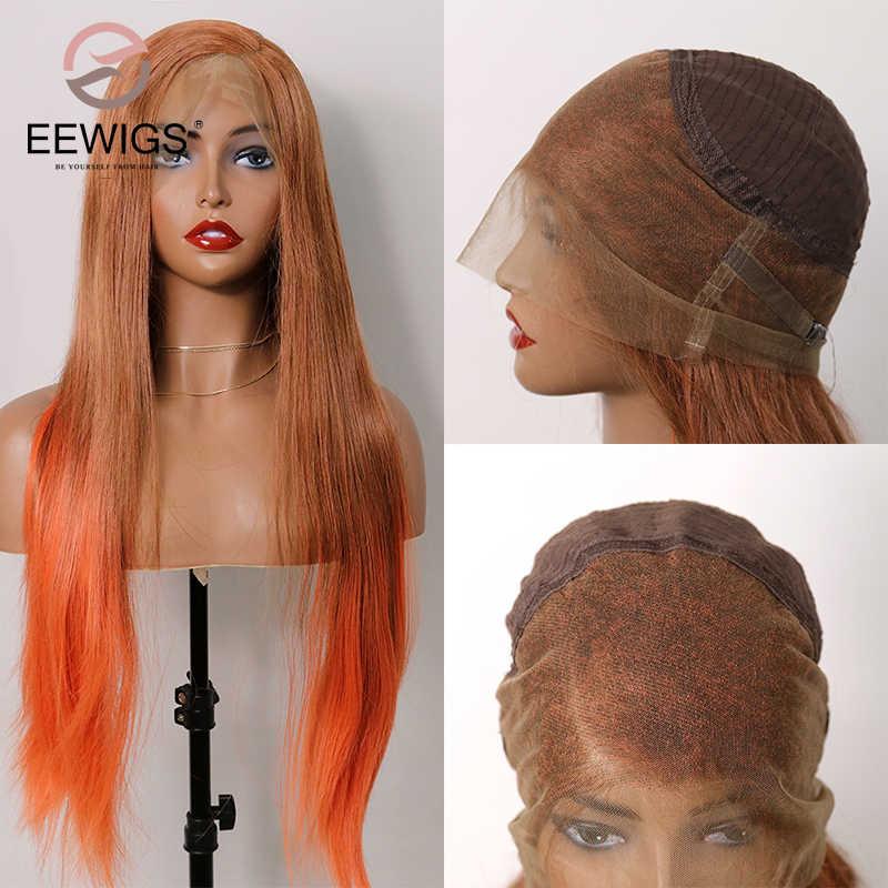 EEWIGS peluca Frontal de encaje sintético 360 de Color naranja, pelucas rectas largas de parte lateral, pelucas de Drag Queen Ombre resistentes al calor para mujer
