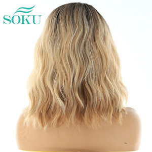 Image 4 - Ombre Blonde Natural Wave Short Bob Wigs Shoulder Length SOKU Synthetic Lace Front Wigs Deep Invisible Side L Part Wig For Women