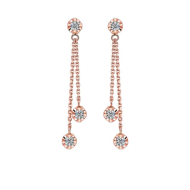 HELON Solid 18K Rose Gold AU750 0.15ct H/SI Natural Diamonds Engagement Wedding Women Trendy Fine Jewelry Gift Stud Earrings 1