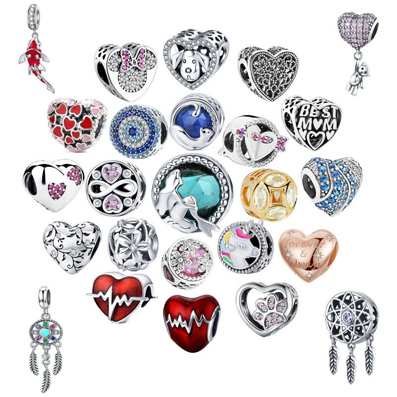 925 Sterling Silver Heart Of The Ocean Series Beads Charms Original Fit Pandora Bangles &Bangles Women Fashion Jewelry C894