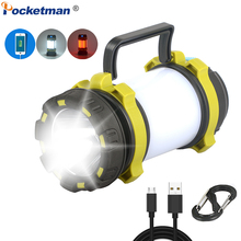Powerful LED Flashlight Light USB Rechargeable Work Light Dimmable Spotlight Worklight Waterproof Searchlight Torch Camping