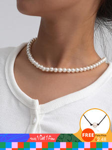 SHIXIN Beads Choker Necklaces Short Fashion Jewelry Pearls White Korean Simple Women